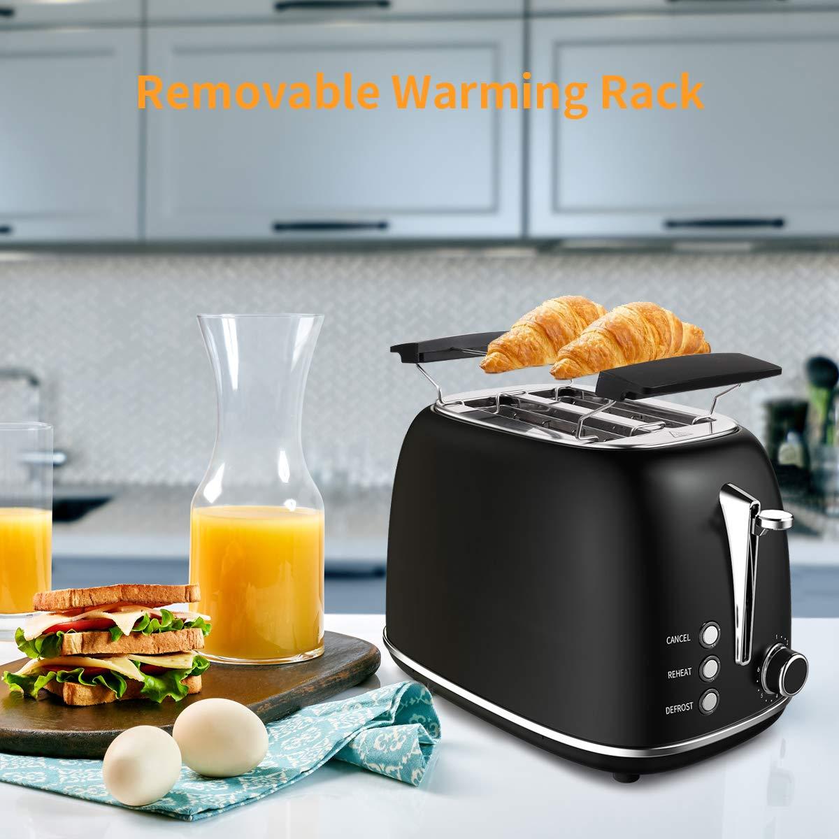 morpilot Toaster Grille-Pain Rétro 2 Fentes Acier Inoxydable, 6 Niveaux Réglables,3 en 1 de Fonctions Grille-Pain,Décongeler,Réchauffer,815W Rapide Fonction