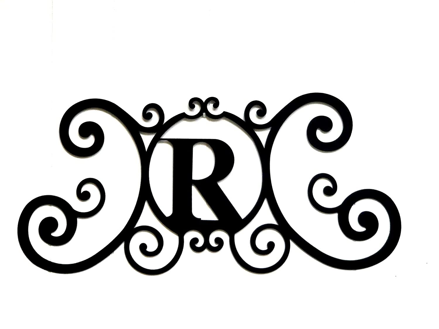 Bookishbunny Monogram Initial Letter A-Z Wrought Iron Metal Scrolled Door Wall Decoration Plaque Art, 24 x 11 inch 2mm Thick (R)