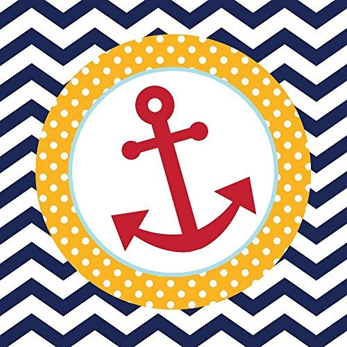 Creative Converting 18 Count Ahoy Matey Anchor Paper Luncheon Napkins (Value 3-Pack)