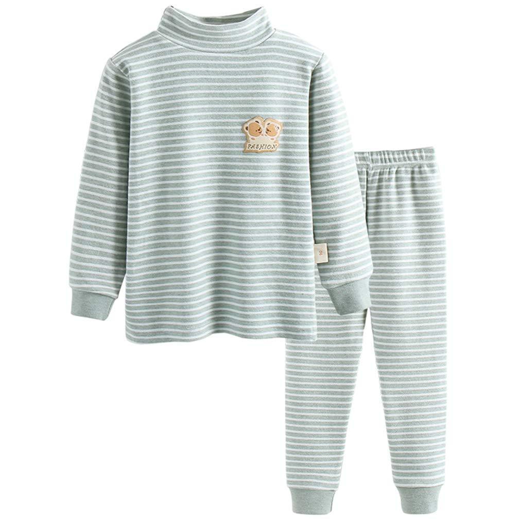 GLEAMING GRAIN Little Boys Thermal Underwear Boys Long Sleeve Striped Jammies Organic Cotton Apparel PJ Set Grey 5T by GLEAMING GRAIN