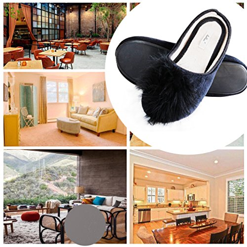 Black Pom Chic For Feather Slippers Anti Easter Fur Foam Slide Velvet Skid amp; Gifts Slippers Memory Women House Sole Shoes Pom Cozy Dresses rqPzBr