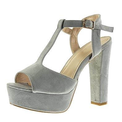 Angkorly Damen Schuhe Sandalen   T Spange   Peep Toe   Plateauschuhe   Schleife Blockabsatz High Heel 13 cm