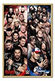 WWE Raw V Smackdown Poster Beech Framed & Satin Matt Laminated - 96.5 x 66 cms (Approx 38 x 26 inches)