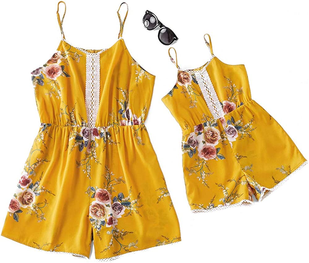 IFFEI Mommy and Me Matching Jumpsuit Outfits Summer Loose Round Neck Spaghetti Strap Short Rompers