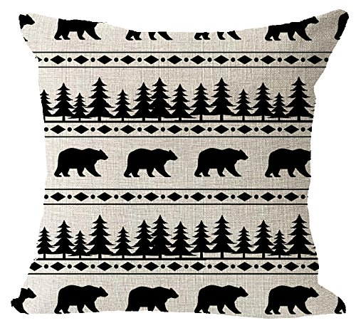 - Bohemia BOHO animal bears and forest pine tree Cotton Linen Square Throw Waist Pillow Case Decorative Cushion Cover Pillowcase Sofa 18