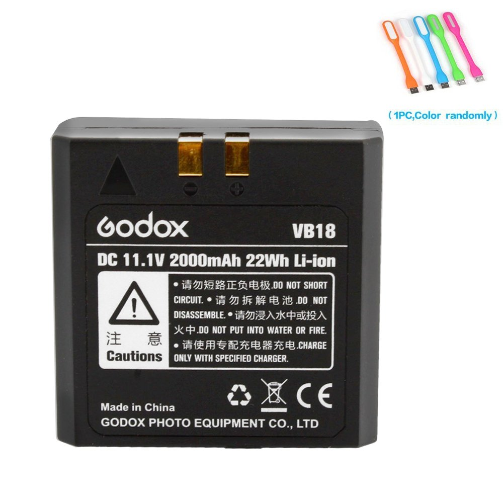 Godox VB18 Rechargeable Li-ion Battery for Godox V850,V850II,V860, V860II-N, V860II-C, V860II-S, V860II-F, V860II-O,Neewer TT850, TT860 Speedlite Flash+CONXTRUE USB LED Free Gift