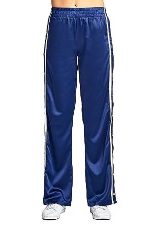 seleccione para genuino mejores telas precio más bajo con Pantalones Largos de chándal, Cintura elástica, Pierna Ancha, satén,  Botones Laterales