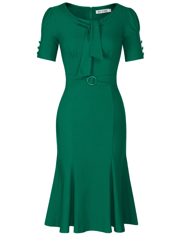 MUXXN Womens Audrey Hepburn Style Lantern Sleeves Knee Length Cocktail Dress (Green L)