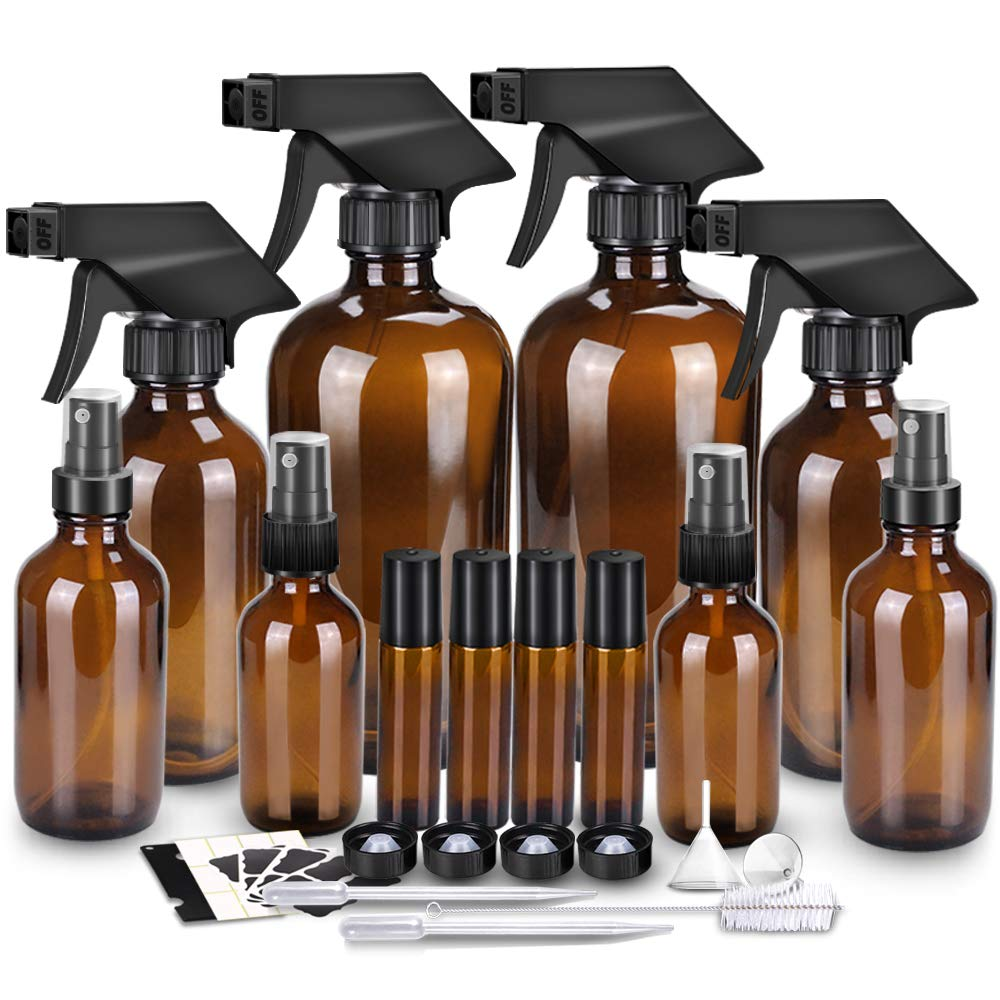 Glass Spray Bottle Kits, BonyTek Empty 4 10 ml Roller Bottles, 8 Amber Essential Oil Bottle 16oz,8oz,4oz,2oz with Labels for Aromatherapy Cleaning Products