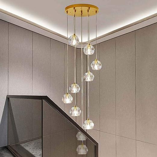 Araña de luces 32x114cm araña de Nordic Light larga escalera de caracol Escalera Villa araña de ático en la planta llevada lámpara de araña Colgante de luz: Amazon.es: Iluminación