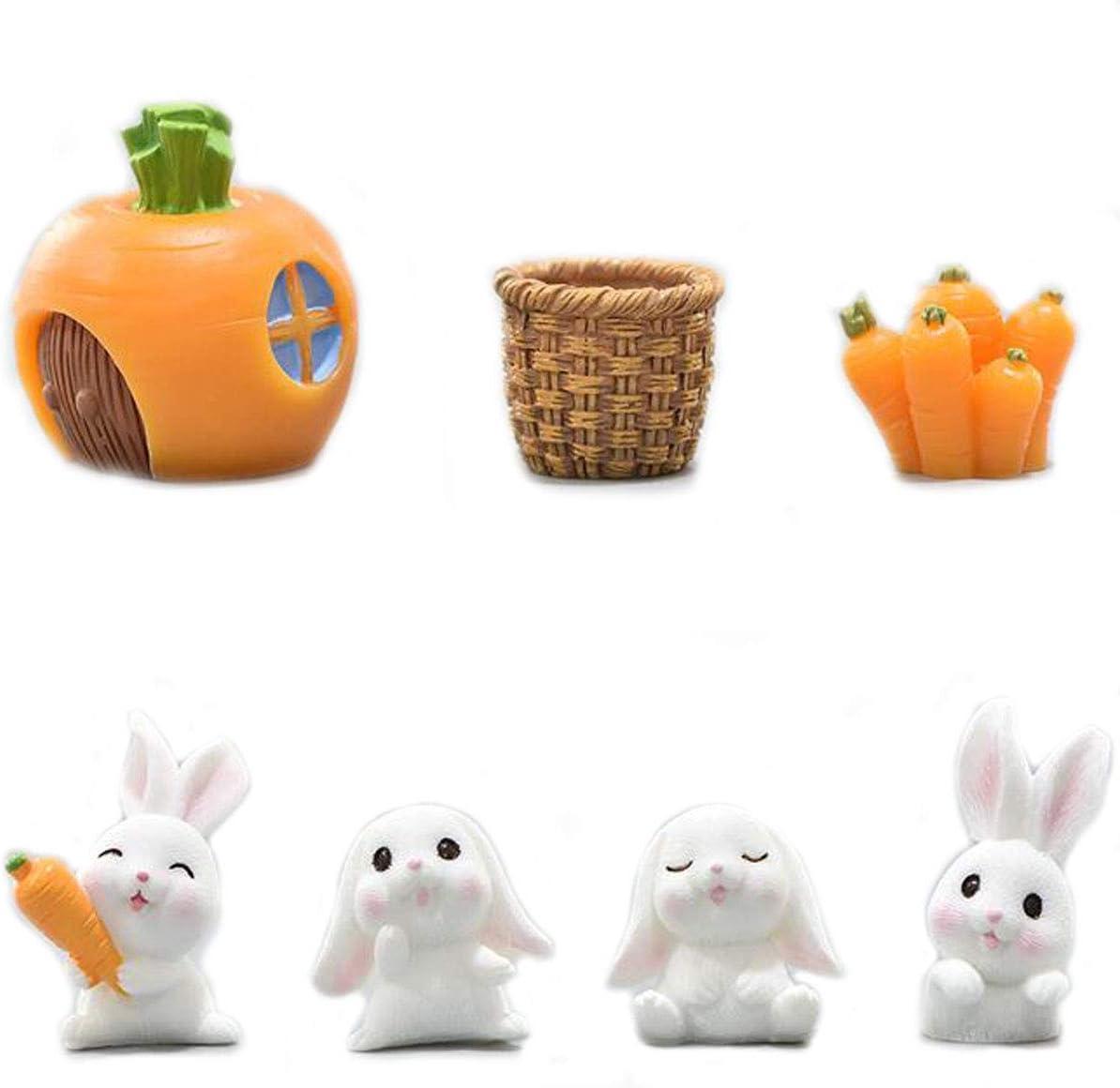 Ruzucoda Miniature Bunny Figurines Figure Animal Rabbit Toys Fairy Garden Party Decorations White
