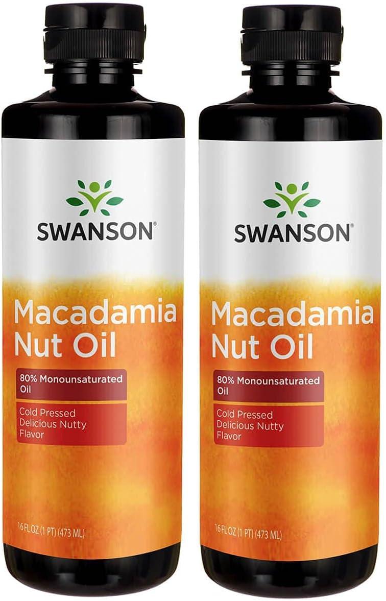 Swanson Macadamia Nut Oil, Cold Pressed 16 fl oz Liquid 2 Pack