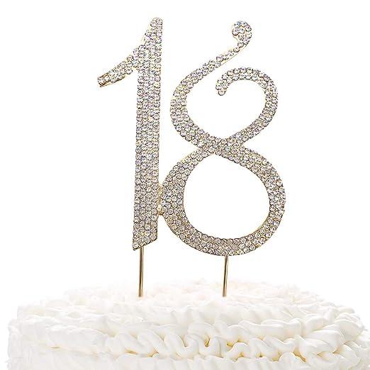 15 adornos de oro para tarta, cristales brillantes de imitación de 15 cumpleaños o aniversario, ideas de decoración de fiesta de aleación de metal de ...