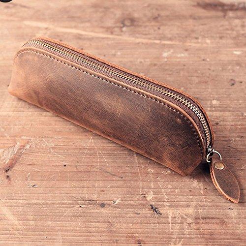 SAIBANG Vintage Leather Pencil Case with Zipper, Handmade Ge