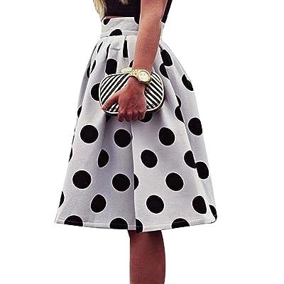 Été Jupe pour Femme Fille Mode Taille Haute Mi-Longue Jupe Motif à Pois Basique Plissée Swing Jupe avec Fermeture Eclair
