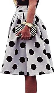 Sommer Rock für Damen - Elegant Punktmuster Abnehmen Casual Falten Rock Hohe Taille Gemütlich Reißverschluss Knielänge Skirt Midirock für Abend Party Büro
