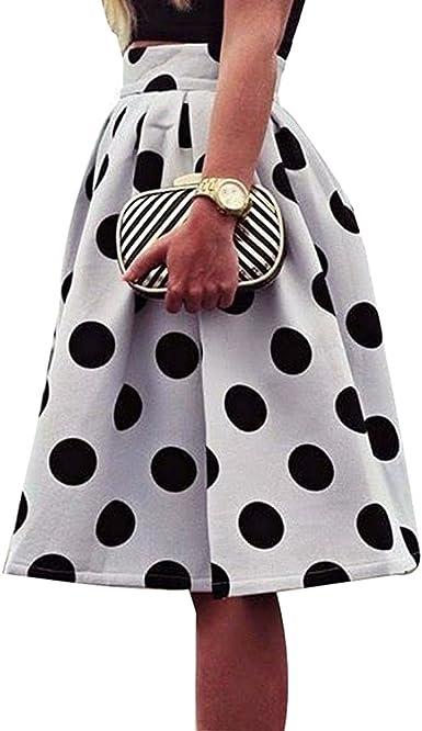 Mujer Falda a Media Elegante Patrón de Puntos Slim Fit Plisada ...