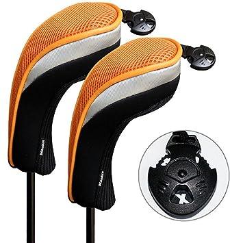 Andux 2 piezas funda de palo de golf híbridos con intercambiable No. etiqueta MT/hy07 (Negro/naranja)