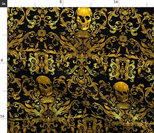 Spoonflower Gold Skull Fabric - Black and Gold Pirate Halloween Gold Halloween Damask Skull Macabre Crossbones Pirate by Willowlanetextiles Printed on Satin Fabric by The Yard ()