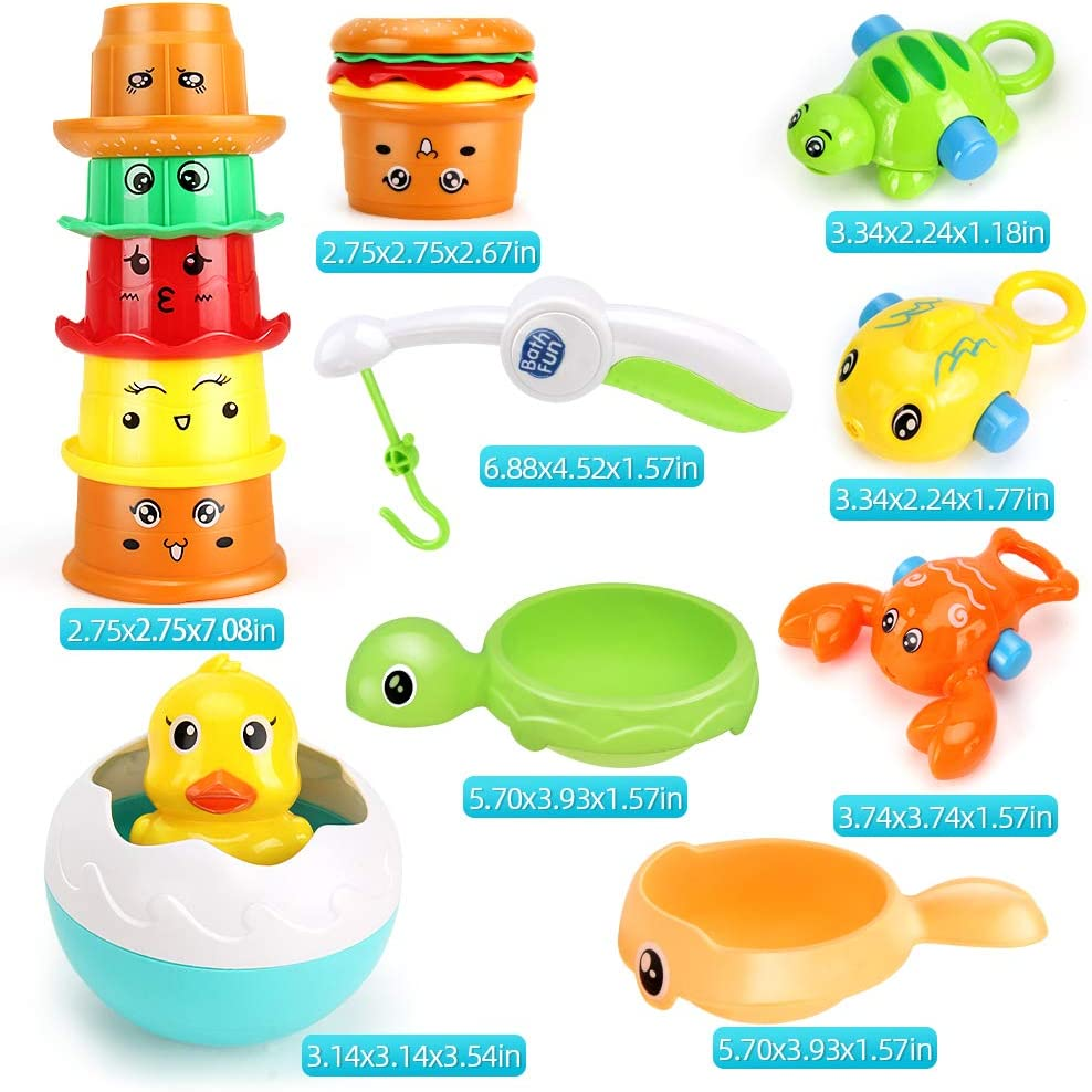 LiDi RC Bath Toys Dolphin Waterfall Station with Burger Stacking Cups,Fishing Games and Duck Tumbler Bathtub Water Toy Gift for Above 18 Month Toddlers Kids Baby Infant Girls Boys