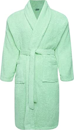 e09a6b3be3 Adore Home 100% Cotton Terry Towelling Shawl Collar Duck Egg Bathrobe  Dressing Gown  Amazon.co.uk  Clothing