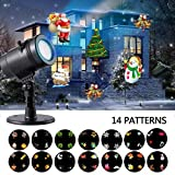 Christmas Light Projector, YINUO LIGHT 14 Moving Pattern Slides Show Snowflake Holiday Projector Indoor Outdoor Waterproof Party Light for Xmas Birthday Wedding Party Landscape Decoration