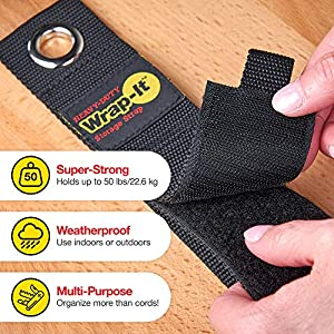 "Heavy-Duty Wrap-It Storage Straps, 13"" (6 Pack) - Hook and Loop Extension Cord Organizer Hanger, Cord Wrap, Cable Straps for Cables, Hoses, Rope for Home, RV and Garage Storage and Organization"