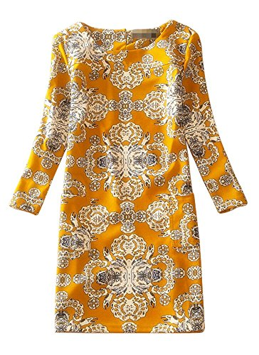 ter Floral Print Long Sleeve Boat Neck A-line Tunic Casual Dress (S, J-D-10) ()