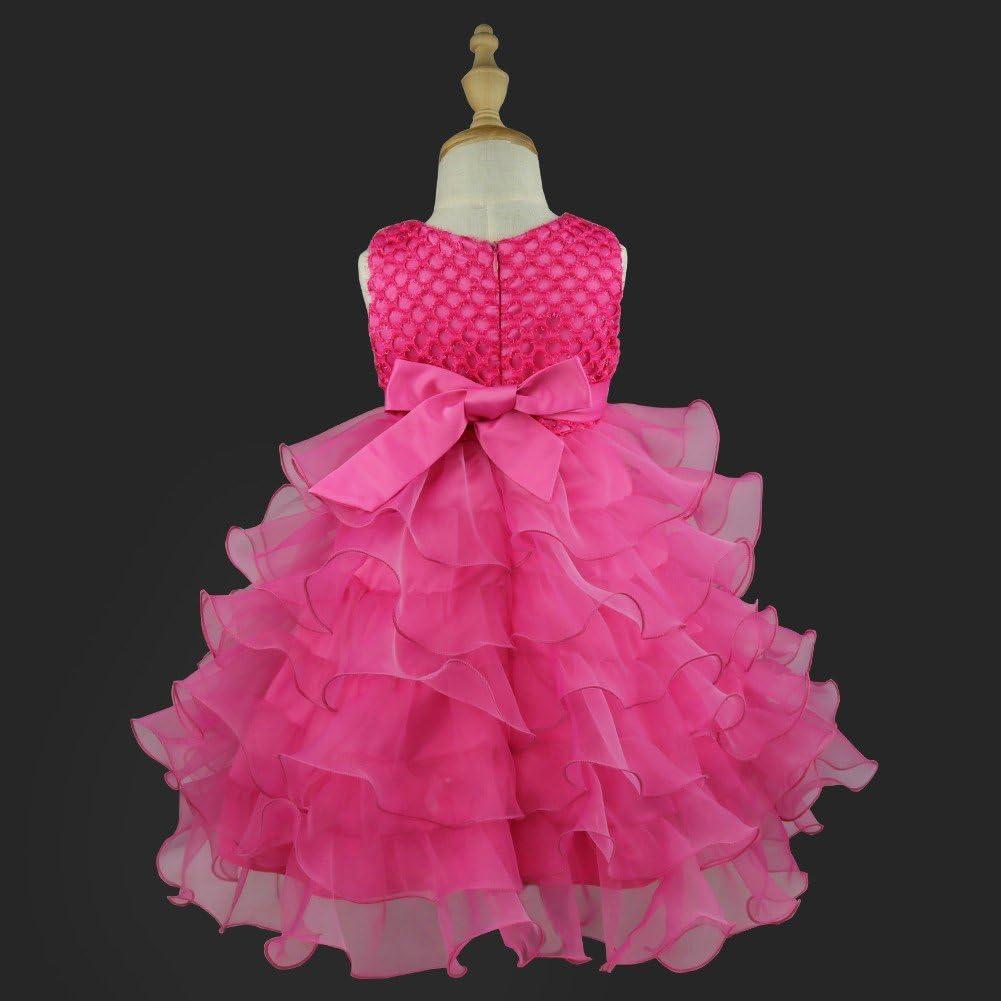 TiaoBug Toddler Baby Girls Flower Ruffled Princess Bowknot Wedding Pageant Christening Baptism Communion Party Dress