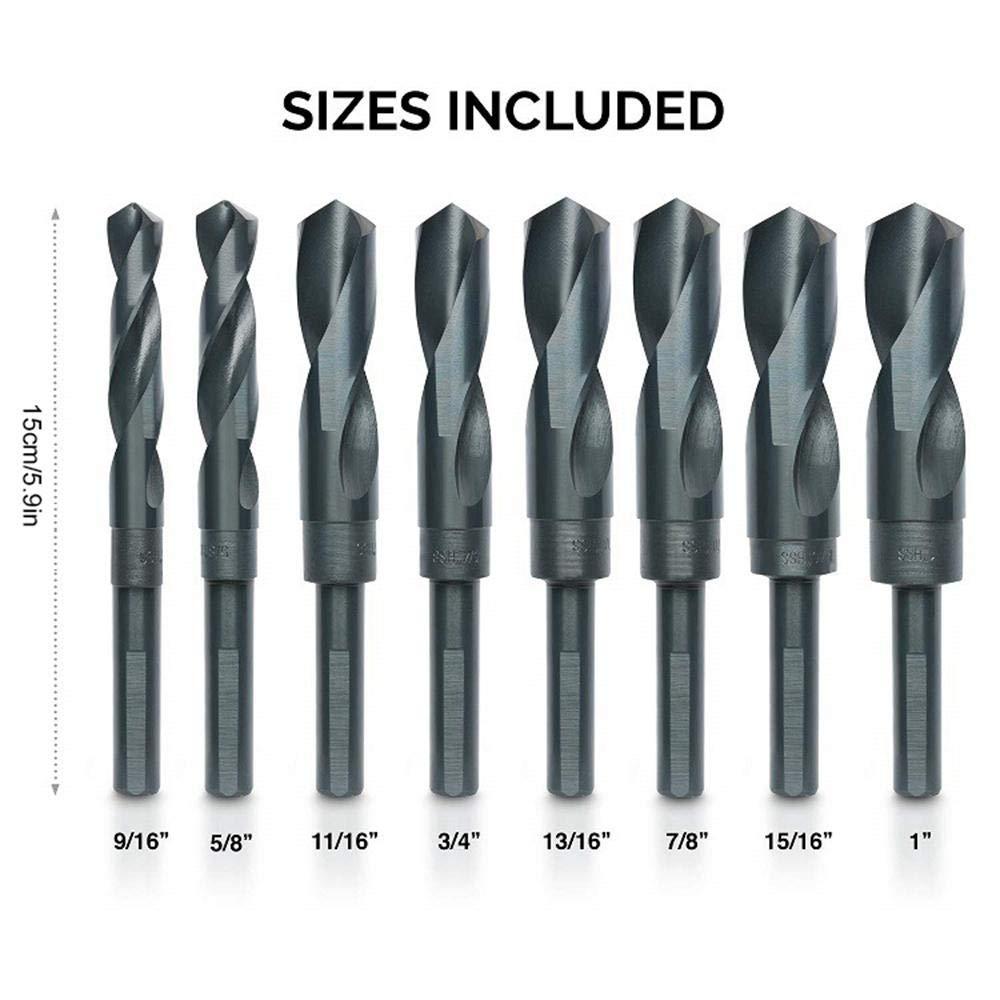 7//8 15//16 1 Steel Drill Bits for Processing of Iron Wood 13//16 11//16 etc 9//16 5//8 Aluminum 3//4 Womdee 8PCS 10005 Reduced Shank HSS Twist Drill Bit Set with 1//2 Shank