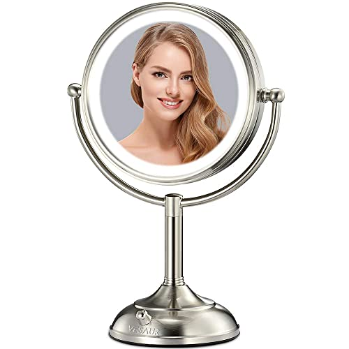 VESAUR Professional 10 Large Tall Size Lighted Makeup Mirror, 5X 2-Sided Magnifying Vanity Mirror with 48 Medical LED Lights, Senior Pearl Nickel Cosmetic Mirror, Brightness Adjustable 0-1100Lux