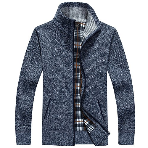 (XinDao Men¡¯s Relax Classic Cardigan Cashmere Wool Blend Sweaters with Pockets Dark Blue US M/Asia XL)