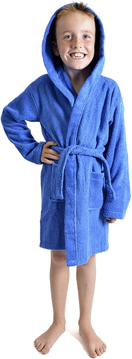 Kids 100/% Cotton Hooded Towelling Bath Robe