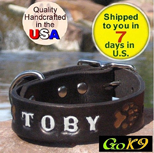 stom Handmade Leather Dog Collar, Personalized K9 Pet Name(26 Inch 66cm NECK SIZE White) (239 Leather)