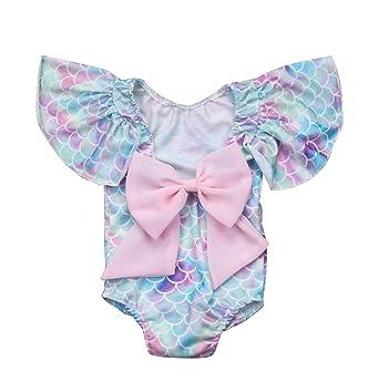 03c1e87c60 Infant Toddler Baby Girls Colorful Fish Scale Mermaid Ruffles Sleeve  One-Piece Swimwear Swimsuit Bathing