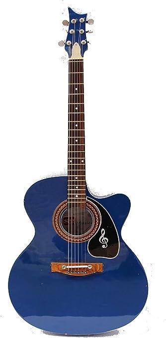 Guitarra acústica con cuerpo curvado y cuerdas, púa y correa ...
