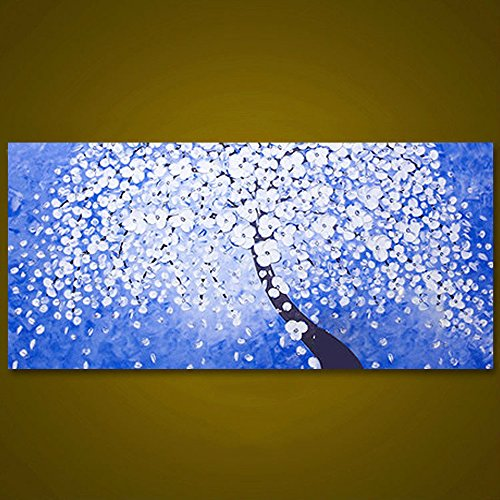 STJKBMJW Unframed White Flower Tree Picture Abstract Palette Knife Painting Arte De La Pared Pintado A Mano Decoración De La...
