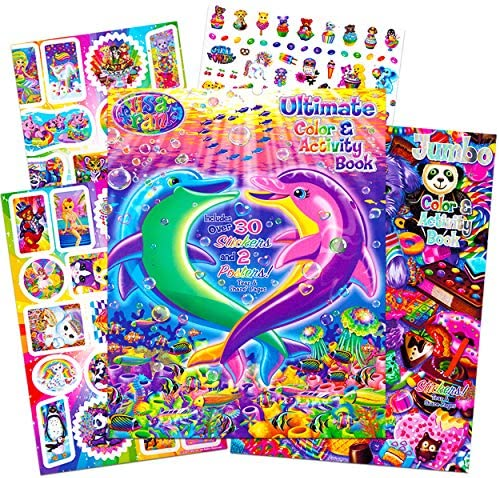Lisa Frank Stickers and Coloring Book Super Set (Bundle Includes 2 Books - Over 30 Stickers, 2 Posters and 100 Pages of Coloring Fun Featuring Lisa Frank)