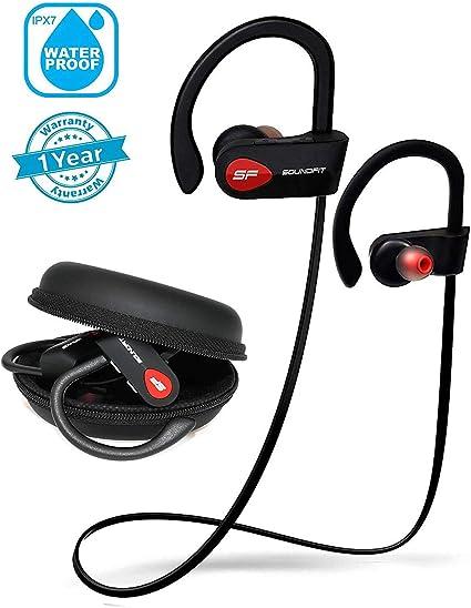 SoundFit Écouteur Sans Fil Bluetooth Sport, Écouteur Sport Sans Fil Bluetooth IPX7 Étanche, CVC 6.0 Micro Anti Bruit, Oreillette Bluetooth Sport HiFi