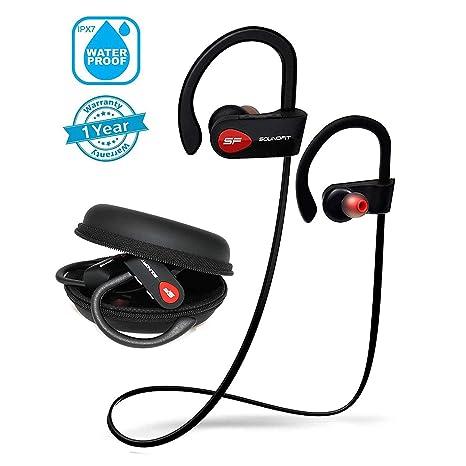 SoundFit Auriculares Inalambricos Bluetooth Deportivos Waterproof IPX7, Cascos Bluetooth 4.1 Inalámbricos con Cancelación de Ruido, Auriculares ...