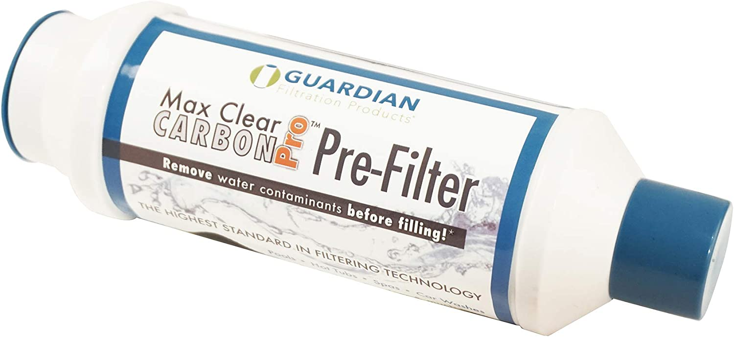 Removes Most Chlorine Sediment Volatile Organic compounds Guardian Max Clear PRO Hot Tub Spa Pool Garden Hose Carbon Pre Filter Up to 10,000 gallons