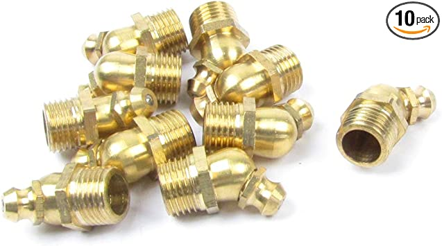 5 Pcs M8 Male Thread 45 Degree Angle Brass Zerk Fitting Grease Nipple