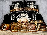full size pirate sheets - Jameswish 3D Adventure Skull Bedding Set - 2017 New Design Pirate Sailing Treasure Printed Bedspread For Decoration Including 1Duvet Cover 1Flat Sheet 2Pillowshams King Queen Full Twin Size