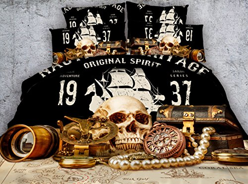 Jameswish 3D Adventure Skull Bedding Set - 2017 New Design Pirate Sailing Treasure Printed Bedspread For Decoration Including 1Duvet Cover 1Flat Sheet 2Pillowshams King Queen Full Twin Size