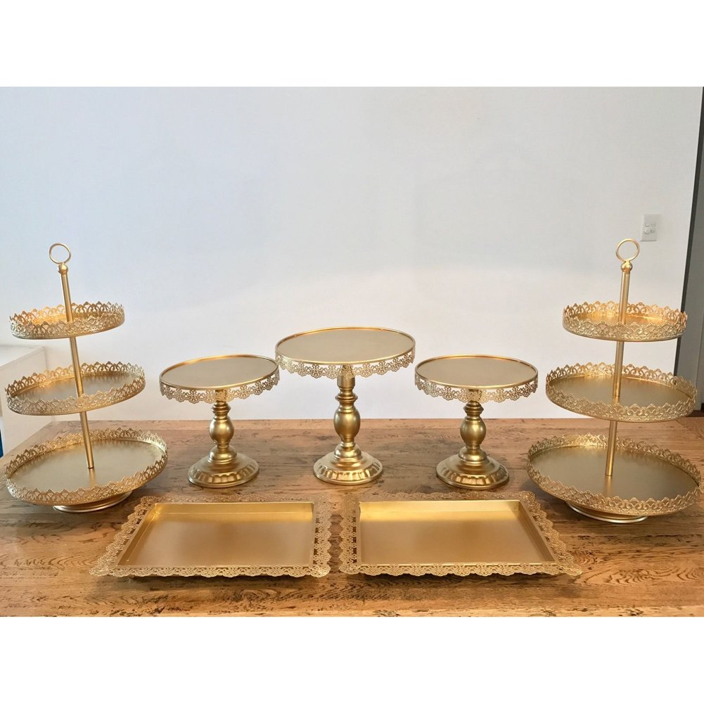 Set of 7 Pieces Cake Stand 3 Tier Cupcake Holder with Pendants and Beads for Wedding Birthday Party Dessert Candy Bar Display Gold