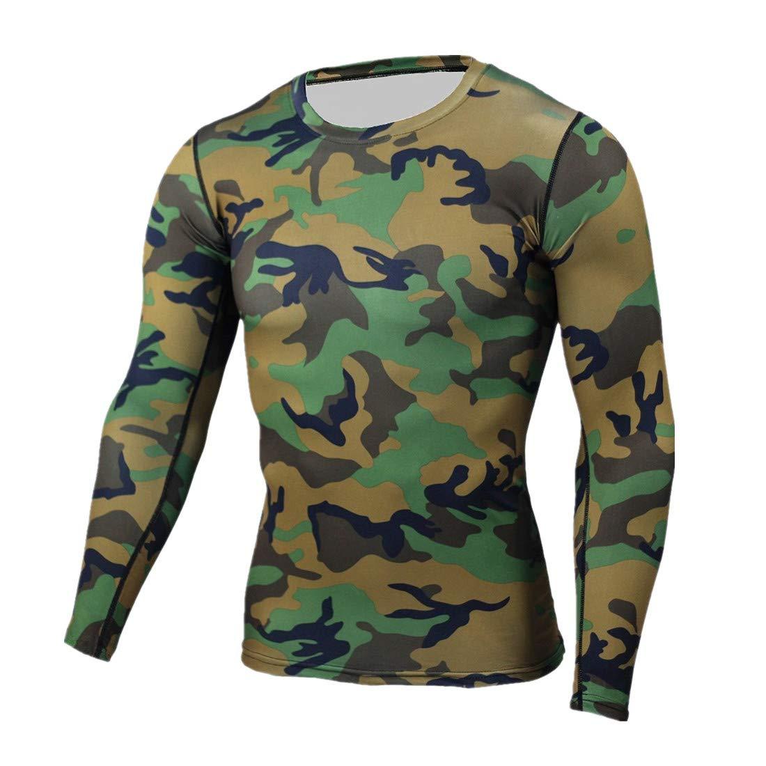 ForeverH Herren Sport Oberteile FORH Männer Camouflage Unterhemd Langarm Kleidung Tight Trocknen Tops Muskelshirt Für Training Gym Fitness And Bodybuilding