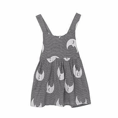 ❤️Robe de Filles , Amlaiworld Enfants filles Été Robe de Plage Sans Manches Impression de La Lune Robe de Soirée Stripe Pour 1-6Ans Fille
