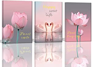 Bedroom Decor for Women Pink Lotus Flower Wall Pictures Office Decor Floral Blossom Pictures for Couples Prints on Canvas Wall Decoration for Bedroom Dorm Decorations for College Girls Swan Canvas Art