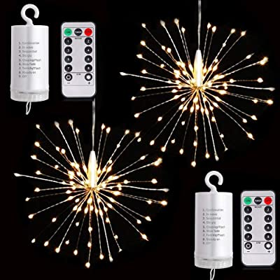 HannaHong Firework Copper 120 LED String Lights, 2 Pack, 8 Modes Dimmable Hanging Starburst Fairy Lights with Remote Control, Battery Operated, Waterproof for Party Home Outdoor Decoration (Warm White) : Garden & Outdoor