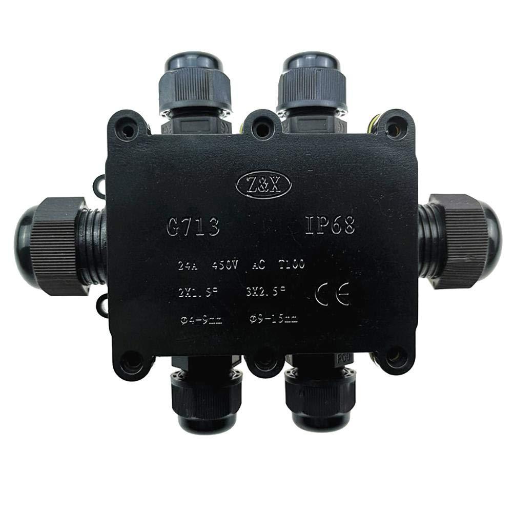 shewt 2 /à 6 t/êtes en Plastique Bo/îte de jonction /étanche G713 Bo/îte de jonction /étanche /à Trois Voies Bo/îte de jonction ext/érieure pour c/âble